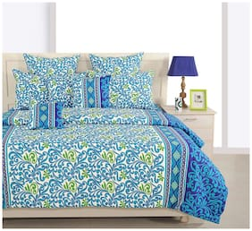 Swayam Navy Blue and Blue Colour Floral Double Winter Quilt