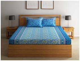 Swayam 144 TC Floral Flat Single Bedsheet ( Blue , Pack of 2 )