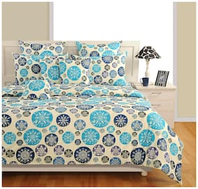 Swayam Cotton Floral King Size Bedsheet 250 TC ( 1 Bedsheet With 2 Pillow Covers , Blue )