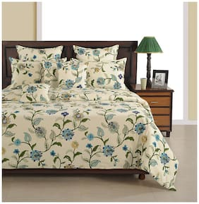 Swayam Cotton Floral Double Size Bedsheet 180 TC ( 1 Bedsheet With 2 Pillow Covers , White )