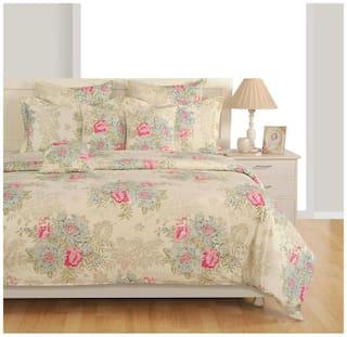 Swayam Cotton Geometric Single Size Bedsheet 144 TC ( 1 Bedsheet With 1 Pillow Covers , White )