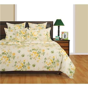 Swayam Cotton Striped Single Size Bedsheet 144 TC ( 1 Bedsheet With 1 Pillow Covers , White )