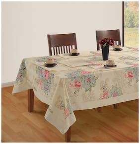 SWAYAM Off White Colour 6 Seater Table Flat Table Cover