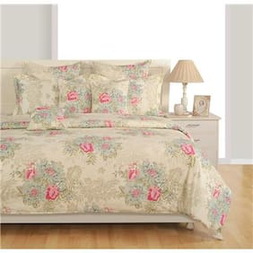 Swayam Cotton Striped King Size Bedsheet 144 TC ( 1 Bedsheet With 2 Pillow Covers , White )