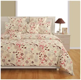 Swayam Off White and Brown Colour Floral Extra Large Bed Sheet with Pillow Covers