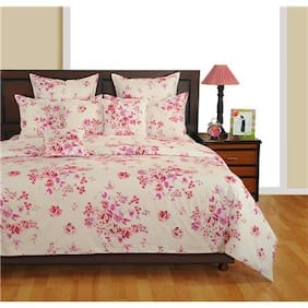 SWAYAM Off White and Magenta Colour Bed in a Bag Set of 4