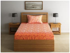 Swayam Cotton Floral Single Size Bedsheet 144 TC ( 1 Bedsheet With 1 Pillow Covers , Orange )