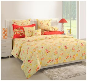 Swayam Cotton Geometric Double Size Bedsheet 250 TC ( 1 Bedsheet With 2 Pillow Covers , Orange )