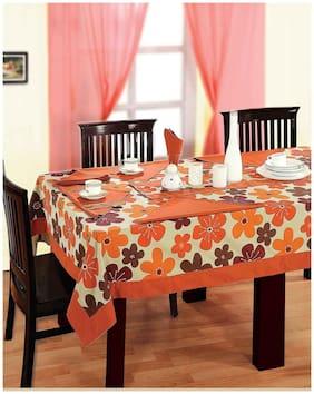 SWAYAM Orange  8 Seater Flat Table Cover