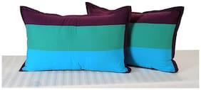 Swayam Drape and Dream Daisy Plain Stylish Multicolour Pillow Cover - Set of 2