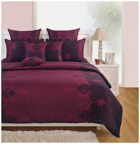 Swayam Satin Embroidered King Size Bedsheet 250 TC ( 1 Bedsheet With 2 Pillow Covers , Pink )