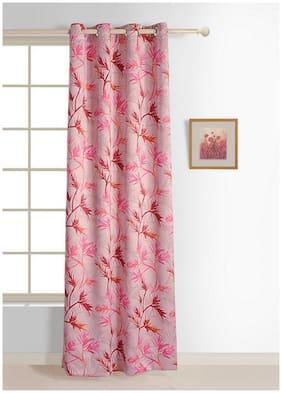 Swayam Pink  Leaf Sigma Eyelet Curtain for Window