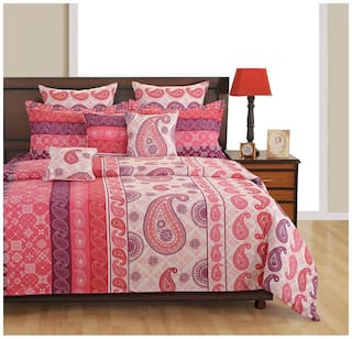 Swayam Cotton Floral Single Size Bedsheet 144 TC ( 1 Bedsheet With 1 Pillow Covers , Pink )