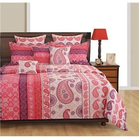 SWAYAM Pink and Red  Bed in a Bag Set of 4