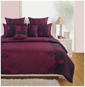 Swayam Pink and Blue  Motifs Double Winter Quilt