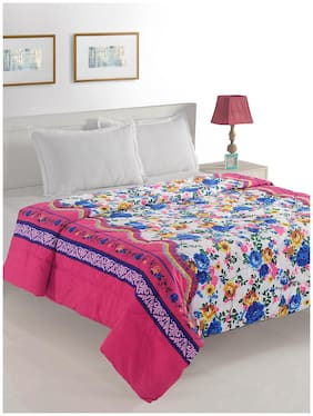 Swayam Polyester Floral Double Size Comforter White