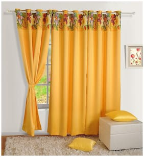 Swayam Satin Window Blackout Yellow Regular Curtain ( Eyelet Closure , Floral )
