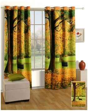 Swayam Multi  Abstract Lounge Eyelet Curtain for Window