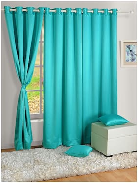 Swayam Satin Window Blackout Blue Regular Curtain ( Eyelet Closure , Floral )