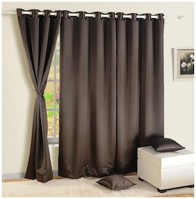 Swayam Silk Window Blackout Brown Regular Curtain ( Eyelet Closure , Floral )