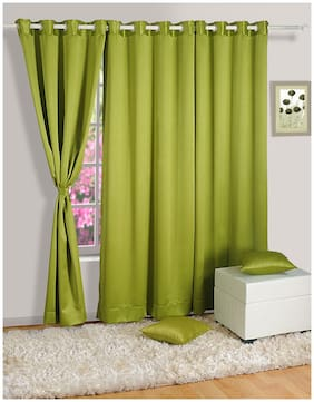 Swayam Satin Window Blackout Green Regular Curtain ( Eyelet Closure , Geometric )