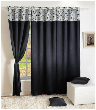 Swayam Satin Door Blackout Black Regular Curtain ( Eyelet Closure , Floral )