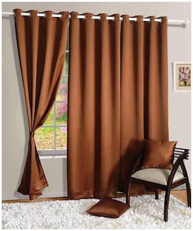 Swayam Silk Window Blackout Brown Regular Curtain ( Eyelet Closure , Motif )