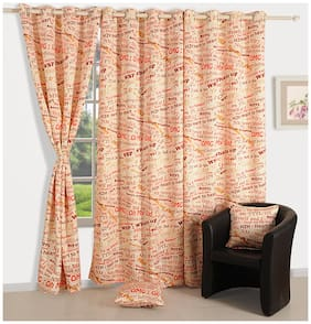 Swayam Silk Window Blackout Orange Regular Curtain ( Eyelet Closure , Motif )