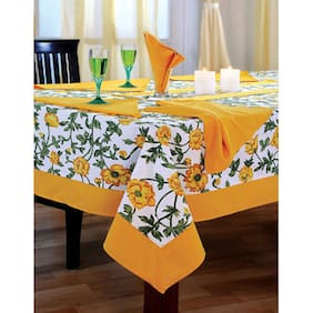 SWAYAM Yellow  4 seater Flat Table Cover