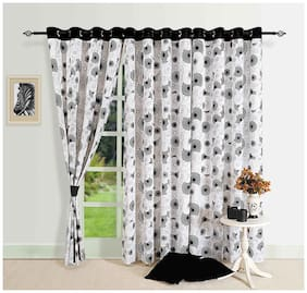 Swayam Cotton Door Blackout Black Regular Curtain ( Eyelet Closure , Floral )