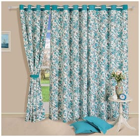 Swayam Cotton Window Blackout Turquoise Regular Curtain ( Eyelet Closure , Solid )