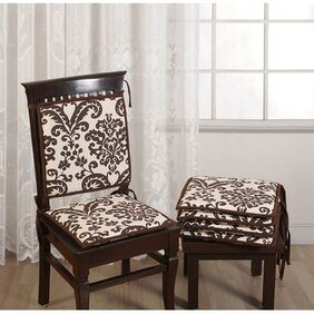 Swayam Printed Chair Pads Standard Size with Loops (16x16) Set of 2
