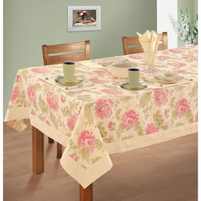 SWAYAM Cream  4 seater Flat Table Cover