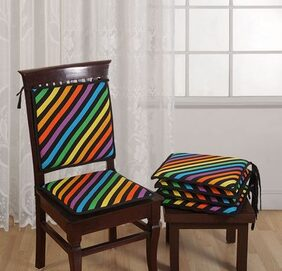 Swayam Printed Chair Pads Standard Size with Loops (16x16) set of 4