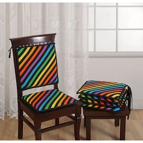 Swayam Grillz Multi Swayam Printed Chair Pads Standard Size with Loops (16x16)