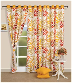 Swayam Silk Window Blackout Yellow Regular Curtain ( Eyelet Closure , Geometric )