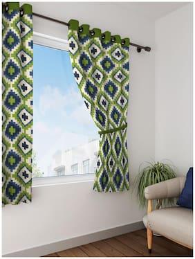 Swayam Green  Geometrical Printed Eyelet Curtain for Window