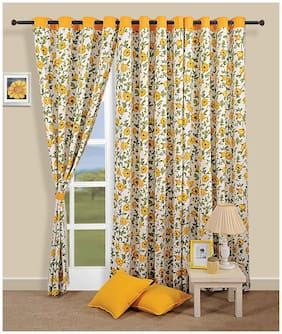 Swayam Yellow  Floral Printed Eyelet Curtain for Window
