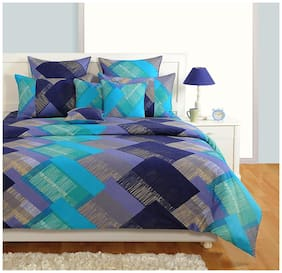 Swayam Cotton Geometric King Size Bedsheet 250 TC ( 1 Bedsheet With 2 Pillow Covers , Purple )