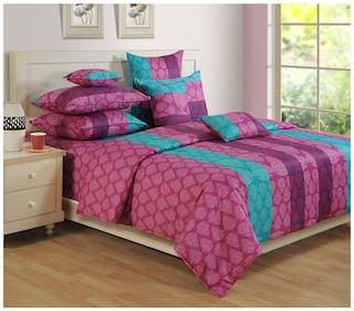 Swayam Cotton Geometric Single Size Bedsheet 144 TC ( 1 Bedsheet With 1 Pillow Covers , Purple )