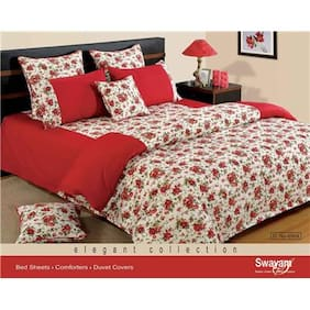 Swayam Red and White  Floral Single Winter Quilt