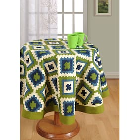 SWAYAM Green  4 seater Round Table Cover
