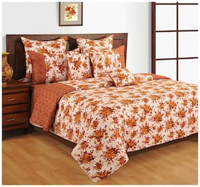 Swayam Cotton Geometric Double Size Bedsheet 200 TC ( 1 Bedsheet With 2 Pillow Covers , Red )