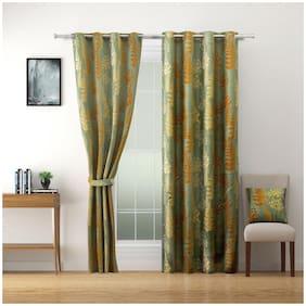 Swayam Polyester Window Blackout Brown Room Darkening Curtain ( Eyelet Closure , Floral , Pack of 2 )