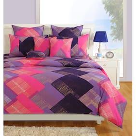 Swayam 144 TC Striped Flat Single Bedsheet ( Pink , Pack of 2 )