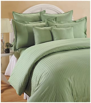Swayam Cotton Striped Single Size Bedsheet 144 TC ( 1 Bedsheet With 1 Pillow Covers , Green )