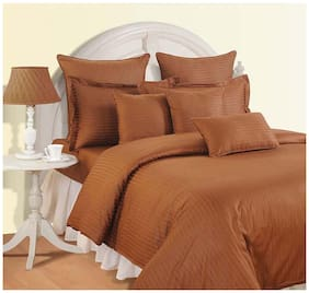Swayam Cotton Striped Single Size Bedsheet 144 TC ( 1 Bedsheet With 1 Pillow Covers , Brown )
