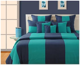 Swayam Cotton Striped Single Size Bedsheet 144 TC ( 1 Bedsheet With 1 Pillow Covers , Blue )