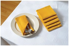 SWAYAM Yellow  Dinner Napkin Table Napkin Set