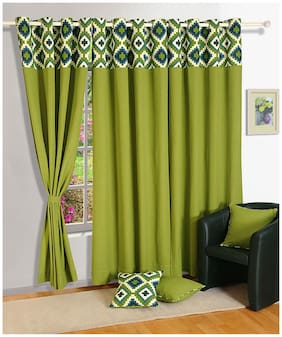 Swayam Silk Window Blackout Green Regular Curtain ( Eyelet Closure , Motif )